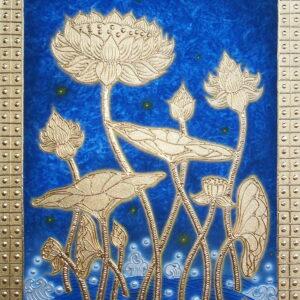 Authentic-Thai-Handmade-Canvas-Painting-Golden-Lotus-Flower