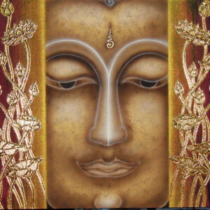 Thai Handmade Canvas Painting Buddha Face