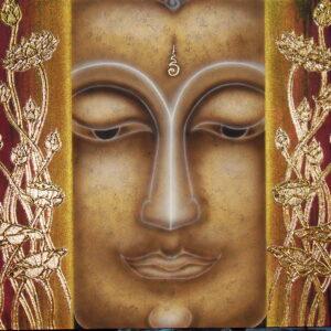 Thai Handmade Canvas Painting Buddha Face