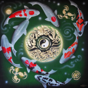 thai-canvas-painting-fish-art-3-green1