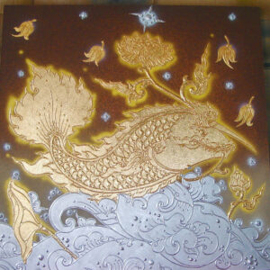 thai-canvas-painting-fish-lotus