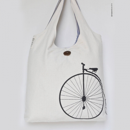 Nepal Cotton Canvas Handmade Tote Bag - KOLPA Penny Farthing