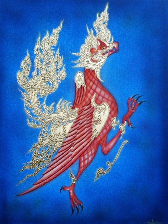 Thai Handmade Canvas Painting - Garuda