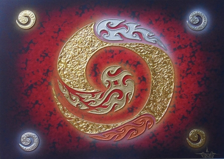 Authentic Thai Handmade Canvas Painting - ONE Red Black Background