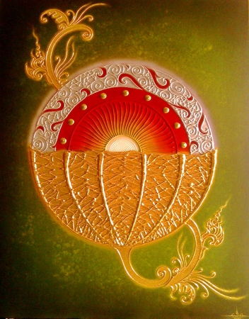 Authentic Thai Handmade Canvas Painting - Flower