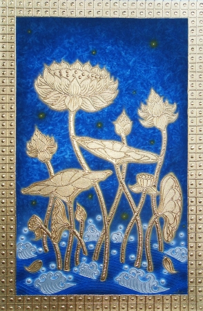 Authentic Thai Handmade Canvas Painting - Golden Lotus Flower