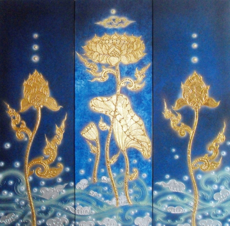 Authentic Thai Handmade Canvas Painting - Lotus Flower