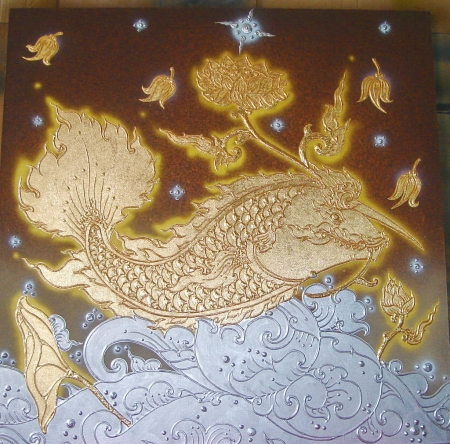 Authentic Thai Handmade Canvas Painting - Fish
