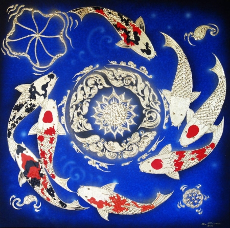 Thai Handmade Canvas Painting - Fish Art Blue