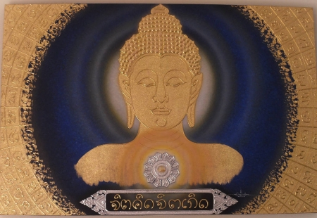 Authentic Thai Handmade Canvas Painting - Buddha Art