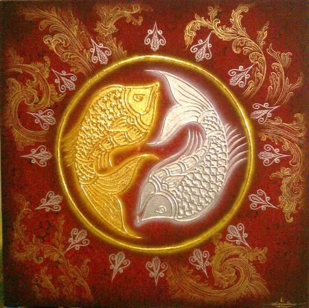 Authentic Thai Handmade Canvas Painting - Fish Art