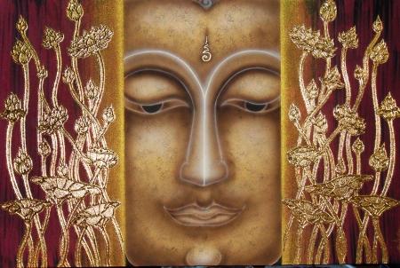 Thai Handmade Canvas Painting Buddha Face - Framed