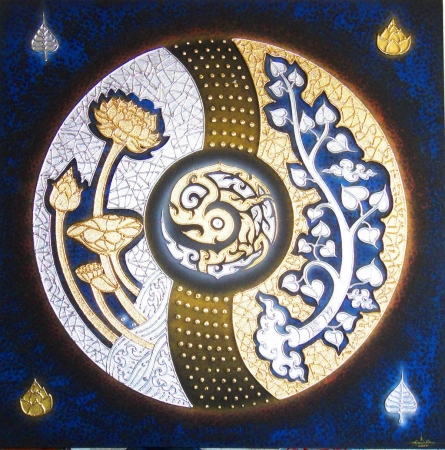 Thai Handmade Canvas Painting - Pipal and Lotus