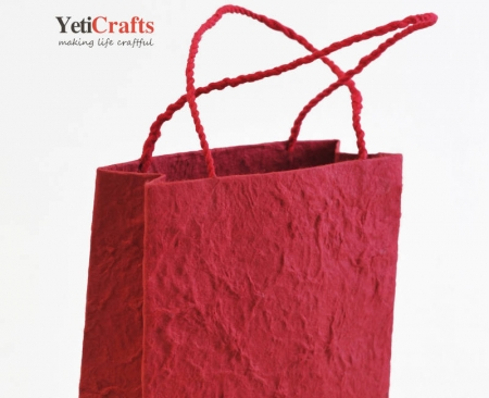 Handmade Lokta Bag - Red Lokta Paper Nepal