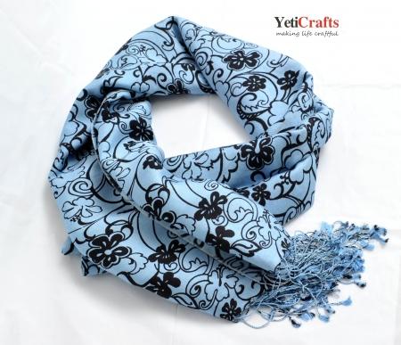 Nepal Silk Scarf - Grey Pattern